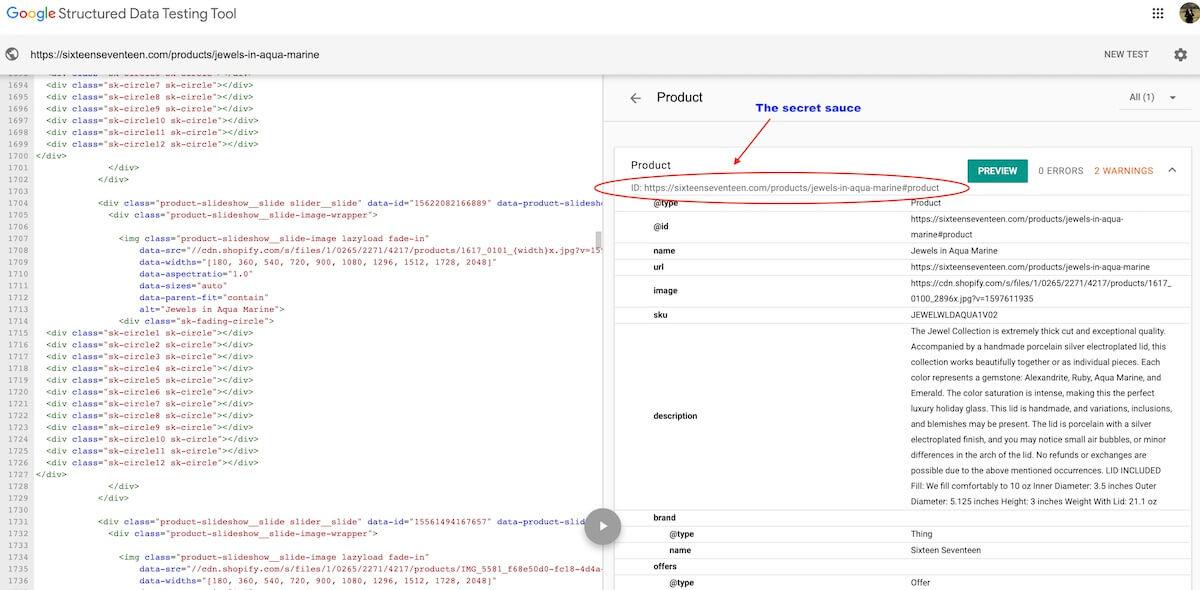 product schema @id field