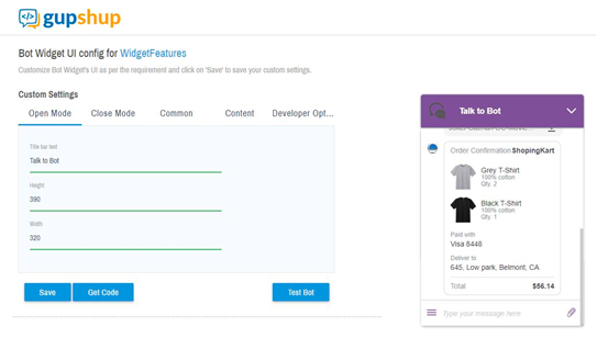 customer support app example